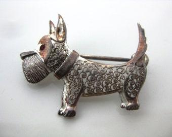 Vintage German Sterling Silver Filigree Schnauzer Dog Brooch