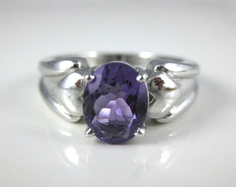 Ring, Size 8.25, Sterling Silver, Amethyst Ring, Purple Stone Jewelry, Promise Ring, Simple, Women Jewelry, Stamped 925