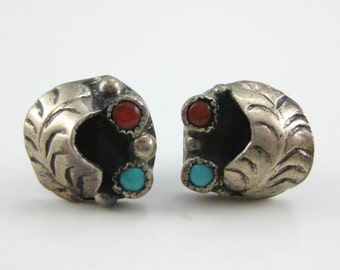 Vintage Southwestern Sterling Silver Red Coral Turquoise Leaflet Earrings.