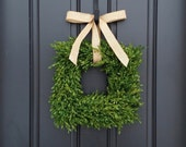 Small Square Wreaths, Boxwood Wreath, Square Boxwood Wreath, Storm Door Wreath, Wreath Square Boxwood, Square Wreath Boxwood