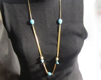 Long Gold Plated Chain Necklace with Turquoise Accent Beads