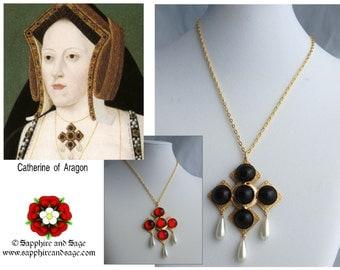 Catherine of Aragon Tudor Renaissance Necklace, Medieval Necklace, Elizabethan Necklace, Tudors Necklace for Faire Cosplay SCA Dress Gown