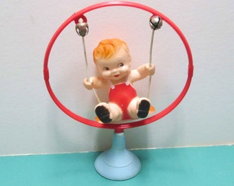 Alan Jay Squeak Toy Baby in Swing Rubber Squeaker Googly Eyes Rubber Toy Suction Cup Kewpie Kitsch