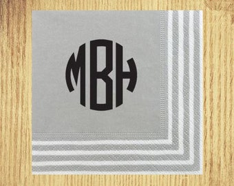 Silver Stripe Border Cocktail Napkins: Your Choice of Monogram and Ink Color