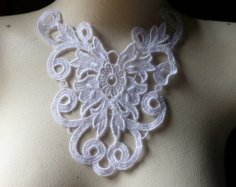 WHITE Lace Applique Dyeable for Bridal, Jewelry & Costume Design WA 604