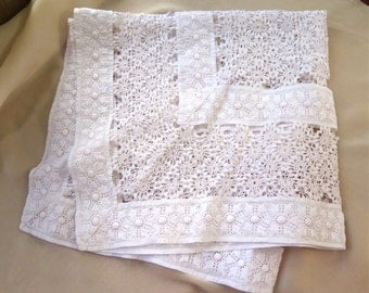 Antique Crocheted Lace Tablecloth with Ric Rac and Ayshire Embroidery White Cotton Table Topper