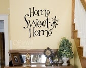 ON SALE Home Sweet Home vinyl wall decal, entryway wall words, welcome decal, fun funky flower home decal, foyer decor