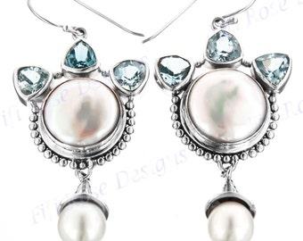 """1 15/16"""" Blue Topaz Biwa Pearl 925 Sterling Silver Earrings"""