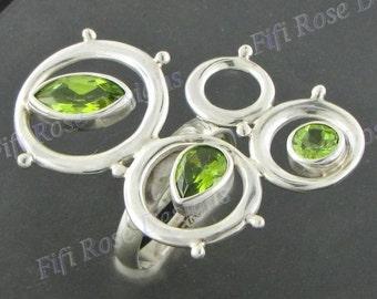 Design Peridot Gems 925 Sterling Silver Sz 5.5 Ring