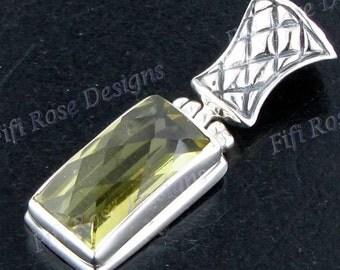 "1 1/8"" Lemon Quartz 925 Sterling Silver Pendant"