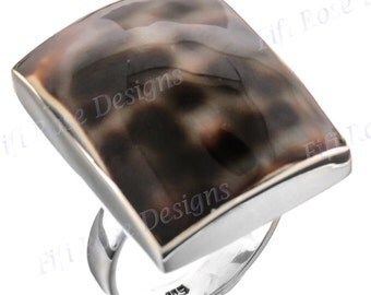 Square Tiger Cowry 925 Sterling Silver Adjustable Sz 9 Ring