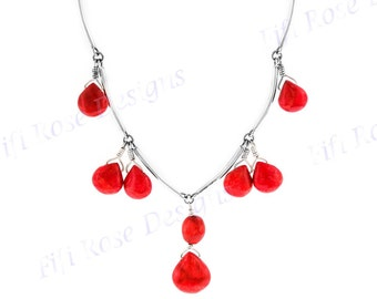 """1 1/8"""" Gorgeous Red Coral 925 Sterling Silver Necklace"""
