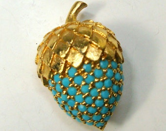 PANETTA Signed Acorn Pin, 1970s Turquoise Glass Handset RhineStones on Goldtone Oak Tree Seed Brooch, Tiny and Fabulous
