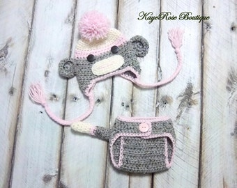 Newborn Baby Girl Crochet Sock Monkey Hat and Diaper Cover Set Pink Brown and Cream
