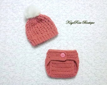 Newborn Baby Girl Pink Cable Knit Crochet Faux Fur Pom Pom Hat and Diaper Cover Set