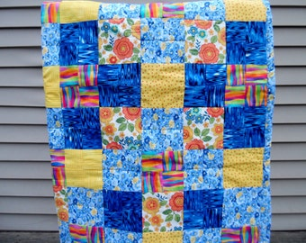 Baby Quilt - Baby Boy Quilt - Patchwork Baby Quilt - Crib Quilt - Quilted Baby Blanket - Patchwork Blanket - Crib Bedding for Boys - OOAK