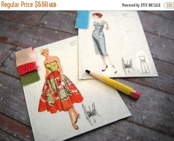 ON SALE Miniature Fashion Sketches (set of 3)