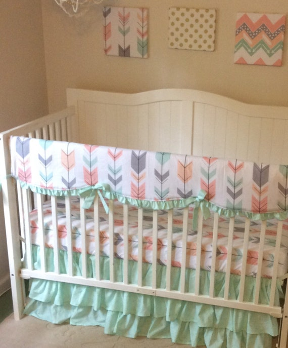 mint peach coral and gray arrows ruffled crib bedding set. Black Bedroom Furniture Sets. Home Design Ideas
