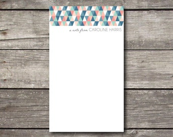 Personalized Geometric Print Notepad Teacher Gift Coworker Gift or Office Supply