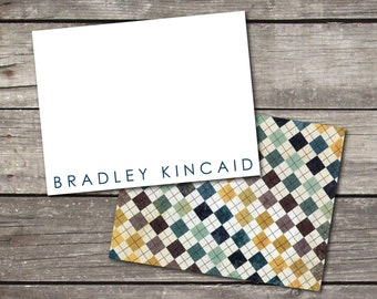 Personalized Set of 10 Argyle Notecards for Teacher Gift Coworker Gift or Personal Stationery