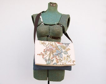 Blue Floral Messenger Bag Women Purse, Gift For Her Under 20, Crossbody