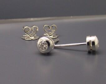 Bezel diamond stud earrings, men's stud earrings, cartilage earring, mens earrings studs, real diamond studs, sterling silver posts, E500SW