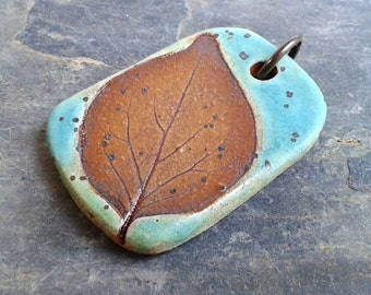 Wisconsin Leaf Ceramic Pendant, Turquoise Green, woodsy, natural, rustic and hip!