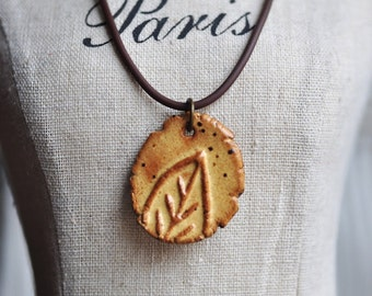 Saffron Mustard Little Leaf Ceramic Pendant in glaze with soft brown shading, stoneware clay pendant, focal bead