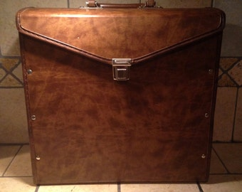 1970s Brown Vinyl Record File Storage Box