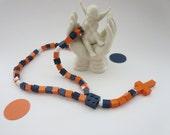 Lego Rosary -  Orange and Dark Blue - Children Catholic Rosary made of Lego Bricks