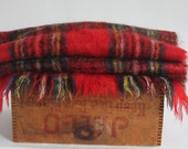 Vintage Scottish Woven Rug Shawl Red Green Yellow Blue Tartan Plaid Stewart Clan Glentana