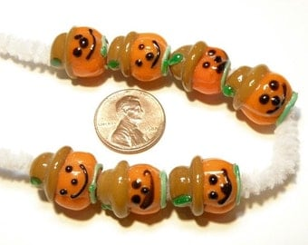 "DESTASH -- Seven (7) Irregular ""Seconds"" Lampwork Scarecrow Pumpkin Head Beads"