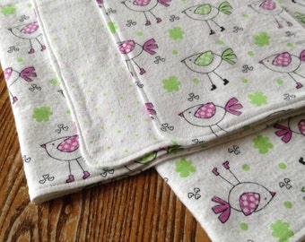 """Square Flannel Swaddler Blanket for Baby Girl, 40"""" x 40""""  pink and green birdies, ready to ship"""