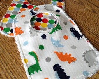 Set of 2 Baby Boy Bibs, Dinosaurs and Dots. Chenille Back, Snap Closure