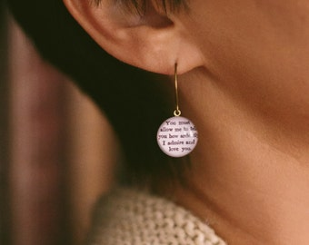 Jane Austen Earrings - Literary Pride and Prejudice Jewelry - Mr Darcy Elizabeth - Book Lover Gifts