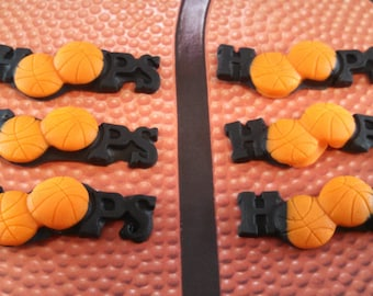 "Edible Fondant Basketball Topper-""Hoops"" Topper-Set of 12-Fondant Hoops Toppers"