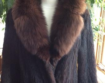 Vintage Long black genuine Fur coat fox collar