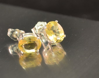 Citrine Earrings Citrine Stud Earrings Citrine Studs Sterling Silver November Birthstone