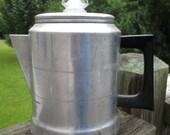 Vintage Comet Aluminum Stove Top 7 Cup Percolator Coffee Pot..Made in USA...Retro Kitchenware...Mid Century..Rustic Cabin Collectible