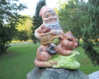 Vintage Ceramic Garden Gnome Riding a Chipmunk..Sitting Elf Pixie..Fantasy..Fairy Garden..Terrarium Figurine