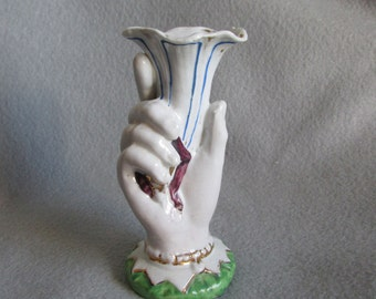 Antique Figural Ladies Hand Vase Staffordshire