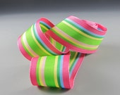 "1"" and 1.5"" GROSGRAIN RIBBON Pink Green Aqua Yellow Stripes 20 Yard Roll WHOLESALE"