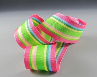 "1"" and 1.5"" GROSGRAIN RIBBON Pink Green Aqua Yellow Stripes 20 Yard Roll WHOLESALE"