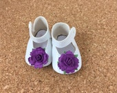 """Fits American Girl Doll Shoes for 18"""" Dolls Embellished White Mary Jane Shoes with Dark Purple Flowers Accessories"""