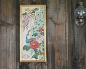 1970s Peacock Needlepoint Wall Hanging / boho framed picture decor