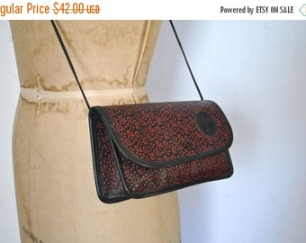 SALE 40% OFF Carlos Falchi Leather Purse / red and black floral
