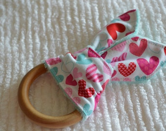 """HEARTS Natural Wood Teething Toy w/ cotton and minky """"Bunny Ears"""""""