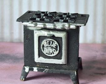 Vintage Blue Bird Cast Iron Miniature Toy Stove 1960's