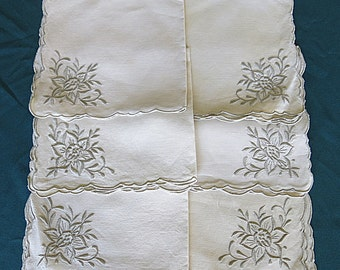 Set of 6 Madeira Embroidered Napkins Creamy White with Taupe Stitching 1970s-80s