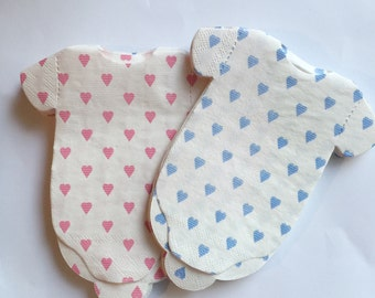 Baby shower napkins!  Baby shirt shaped or bib shaped napkins with tiny blue or pink hearts.  Use as banner too!
